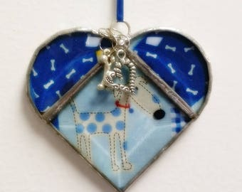 Stained Glass Heart Spotted Dog ~ Two-Sided ~ 3.5  Inches with Heart and Bone Charms