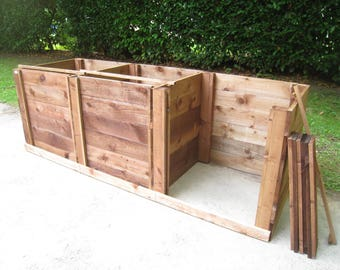 Compost Bin - Triple Close-Boarded Sturdy Wooden Composting Box/Removable Front Boards/Optional Lids + Aerating-Bases/Garden Compost Maker