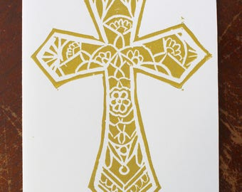 Handprinted Cross Linocut Card