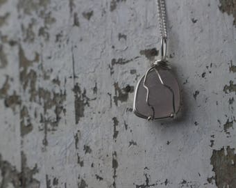 Dainty Blush  Seaglass Necklace