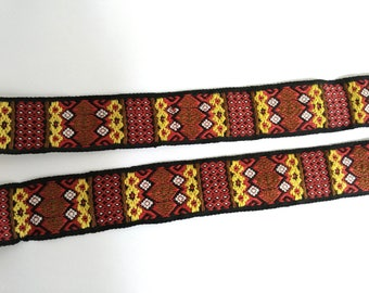 50 cm of lace Ribbon brown yellow ethnic 28 mm