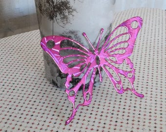 Holographic Butterfly embellishment semi thick pink cardstock color