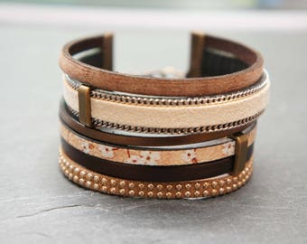 Bracelet designer cuff - Tan Leather