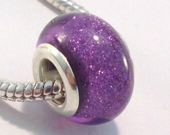 European bead charm's Purple acrylic glitter (63 G)