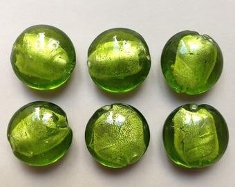 6 / lot 2 green silver round lampwork handmade murano glass beads transparent cake ~ 20mm