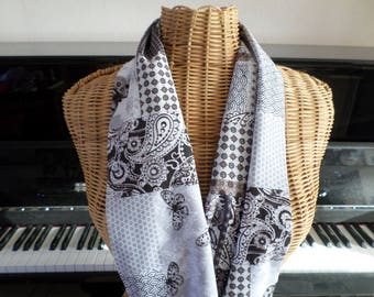 scarf made with a fabric with different patterns