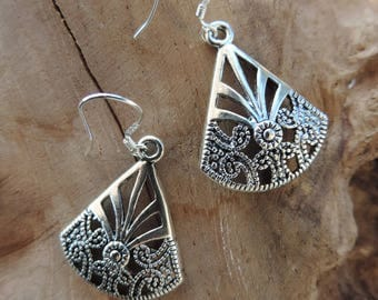 Tibetan Silver earrings shaped triangular fan. Sterling Silver bail.