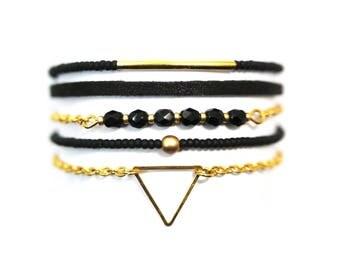 Black & gold Cuff Bracelet Bohemian