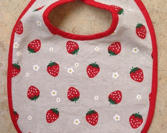 3/6 months collection strawberries Terry bib