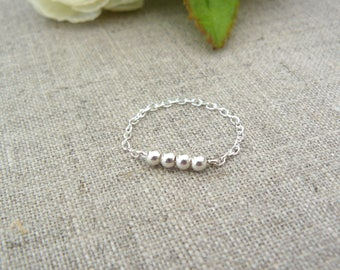 Ring 925 sterling silver beads 925 sterling silver chain