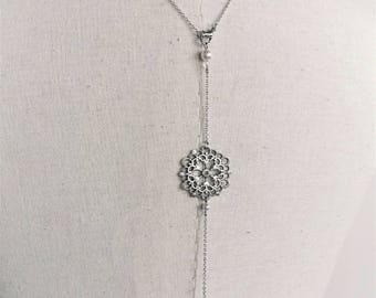 """Back """"Emma-2"""" with swrovski pearls wedding jewelry necklace"""