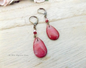 Pink-purple gradient pendant earrings