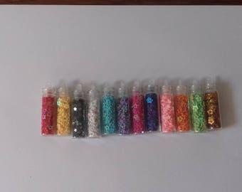 Set of 12 jars of glitter