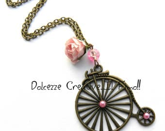Beads bike and bicycle velocipede Vintage - rose necklace
