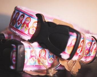 Dog collar BABOOSHKA S - folk, powder pink, width collar