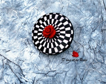 1 Vasarely and red rose brooch