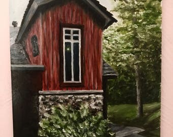Original Oil Painting // House in the Woods