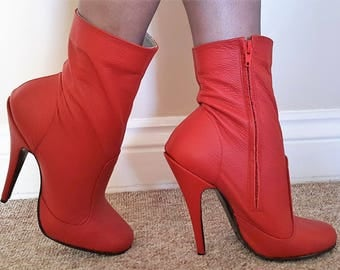 Sexy Red Matt Leather Round Toe High Heeled Ankle Boots with inside zip UK 7 EU 40