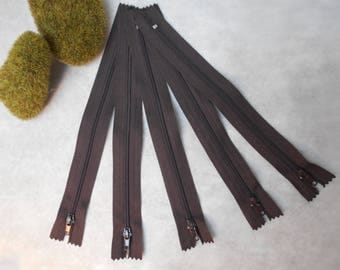 Brown of 20cm - set of 5 - not separable zipper