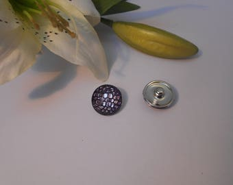 Sparkly button pressure 18mm for jewelry - purple