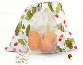 Sac à Vrac ZÉRO DÉCHET 100% Coton pour fruits et légumes Imprimé Bio RADIS-Zero Waste Shopping Pure Coton Bag for Bulk Food Radish pattern