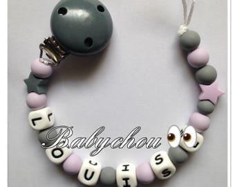Sweet Purple and grey teething bead