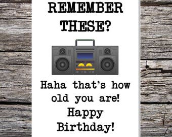 funny handmade card for anyone - retro/vintage style - born in the 70s/80s - ghetto blaster
