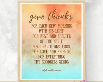Give Thanks Emerson Quote | Thanksgiving Download | Watercolor Art | DIY Thanksgiving Wall Art | Gratitude Saying | Ralph Waldo Emerson
