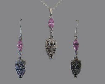 """Together the """"pink OWL silver Topaz in marquise"""""""