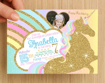 Unicorn Birthday Invitation Personalised #3 - With or without photo, digital download, party supplies