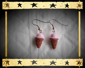 Brown ice cream cone and pink ball mounted on silver plated