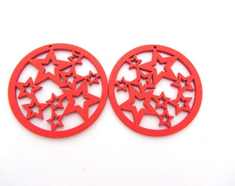 A wooden style round red starry hoop bead