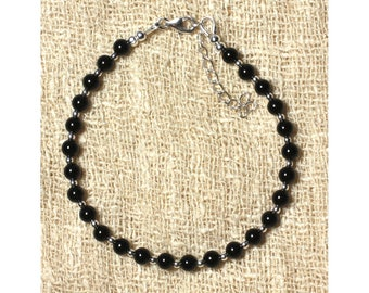 Stone and 4mm black Onyx 925 silver bracelet