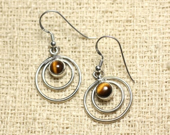 BO202 - circles 19mm Tiger eye 925 Silver earrings