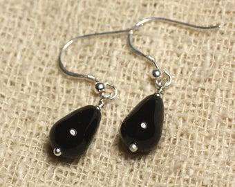 Earrings 925 Silver - Black Onyx drops 12x8mm