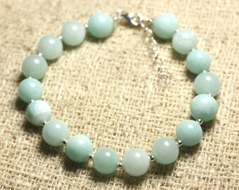 Bracelet 925 sterling silver and Turquoise 8mm blue Jade - stone