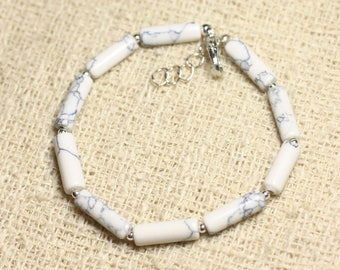 Bracelet 925 sterling silver and stone - Howlite Tubes 13mm