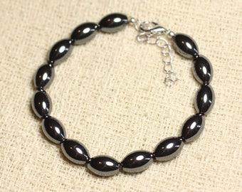 Bracelet 925 sterling silver and Hematite - olive 12mm