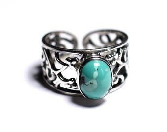N224 - 925 sterling silver and semi precious - Turquoise ring natural oval 9x7mm