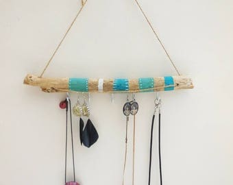 Bohemian style jewelry display: necklaces and earrings