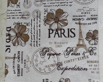 1 sheet of fabric printed sticker hemp Paris 30 x 21 cm