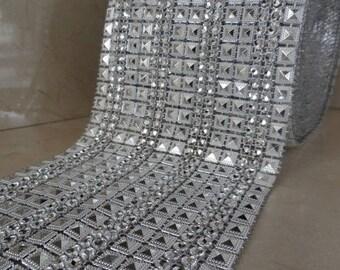 1 meter of trim 11 cm wide silver rhinestones