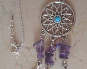 Dream catcher necklace with amethyst and sterling silver chain