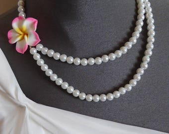"Necklace cream silver Orchid ""Bora Bora"""