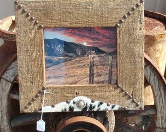Western hide frame. One of a Kind unique