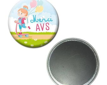 Magnet button 56 mm - thanks AVS girl balloons Assistant school