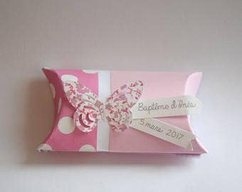 Pink butterfly and flowers liberty baptism favors box