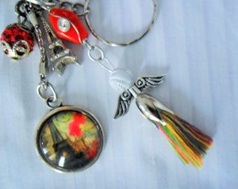 Keychain jewelry bag PARIS Eiffel Tower Cabochon 25mm glass Angel and Pearl snap