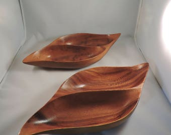 Vintage Monkeypod Wood hand-carved bowls, set of two
