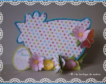 Table decoration: Easter hen with flowery dots, paper and cardboard